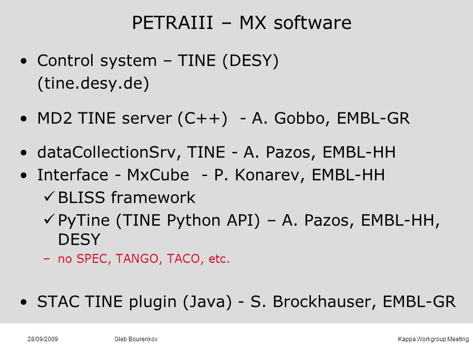 Gleb Bourenkov Kappa Workgroup Meeting28/09/2009 PETRAIII – MX software Control system – TINE (DESY) (tine.desy.de) MD2 TINE server (C++) - A.