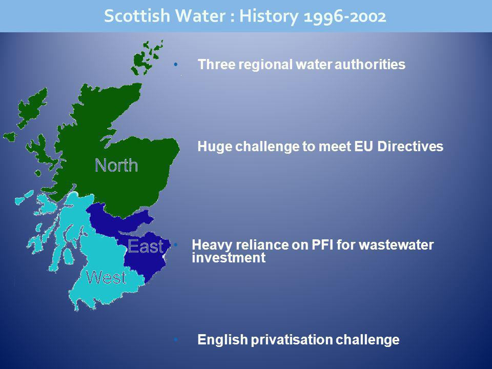 Three regional water authorities Huge challenge to meet EU Directives Heavy reliance on PFI for wastewater investment English privatisation challenge