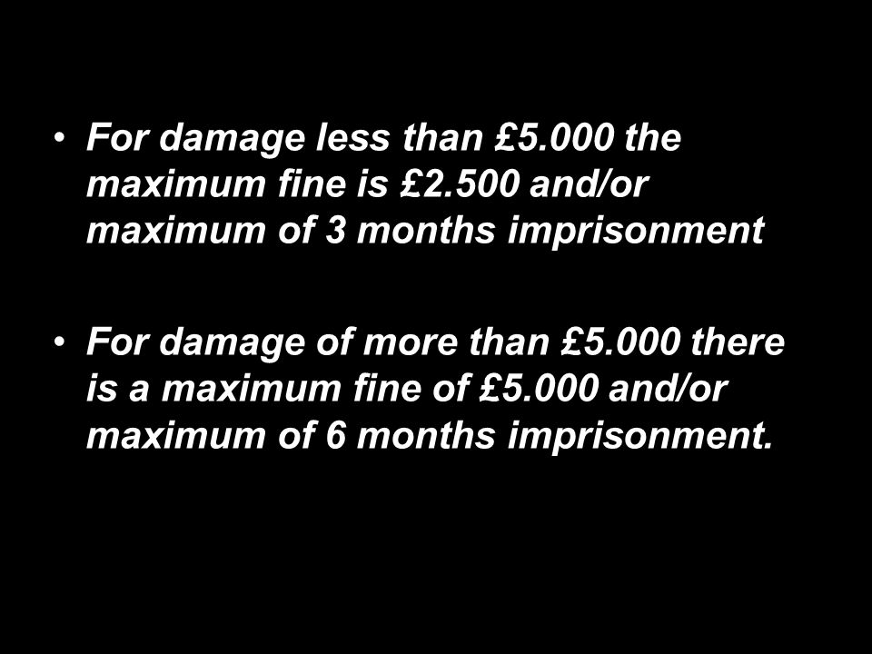 For damage less than £5.000 the maximum fine is £2.500 and/or maximum of 3 months imprisonment For damage of more than £5.000 there is a maximum fine of £5.000 and/or maximum of 6 months imprisonment.