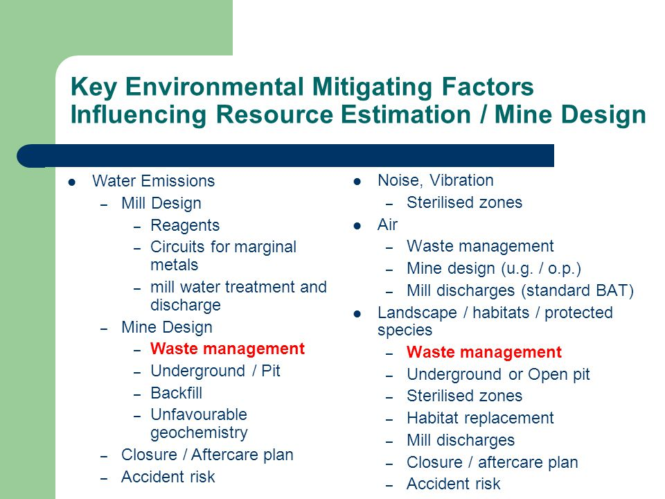 Noise, Vibration – Sterilised zones Air – Waste management – Mine design (u.g.