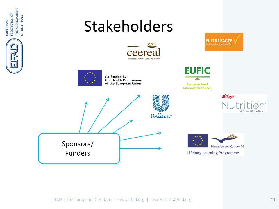 EFAD | The European Dietitians | www.efad.org | secretariat@efad.org11 Sponsors/ Funders Stakeholders