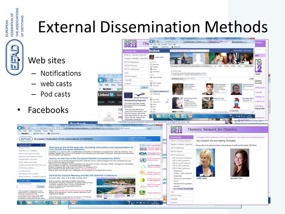 External Dissemination Methods Web sites – Notifications – web casts – Pod casts Facebooks LinkedIn Stakeholder Workshops Conferences and General Meetings