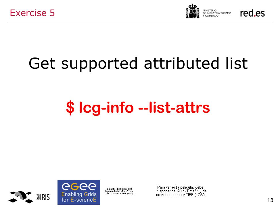 13 Exercise 5 Get supported attributed list $ lcg-info --list-attrs