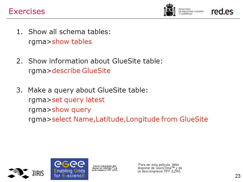 23 1.Show all schema tables: rgma>show tables 2.Show information about GlueSite table: rgma>describe GlueSite 3.