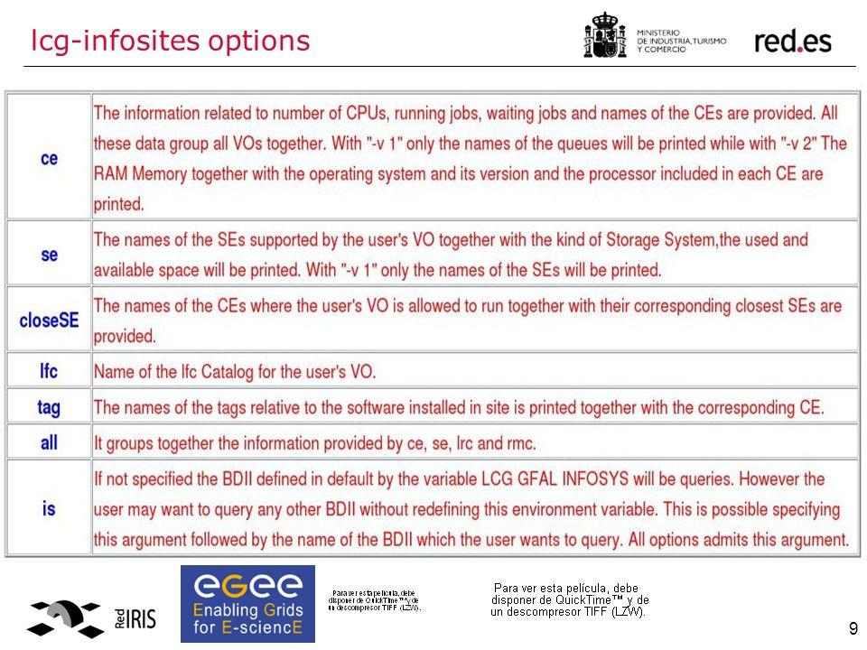 9 lcg-infosites options