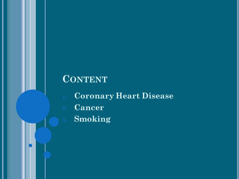 C ONTENT 1. Coronary Heart Disease 2. Cancer 3. Smoking