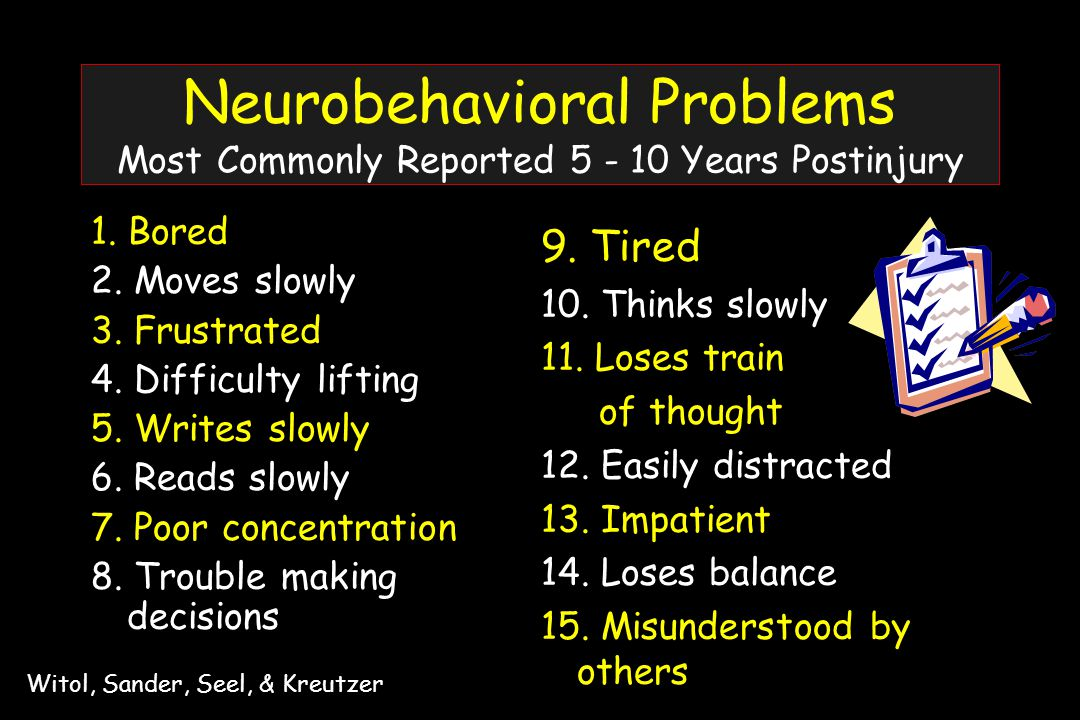 Neurobehavioral Problems Most Commonly Reported 5 - 10 Years Postinjury 1.