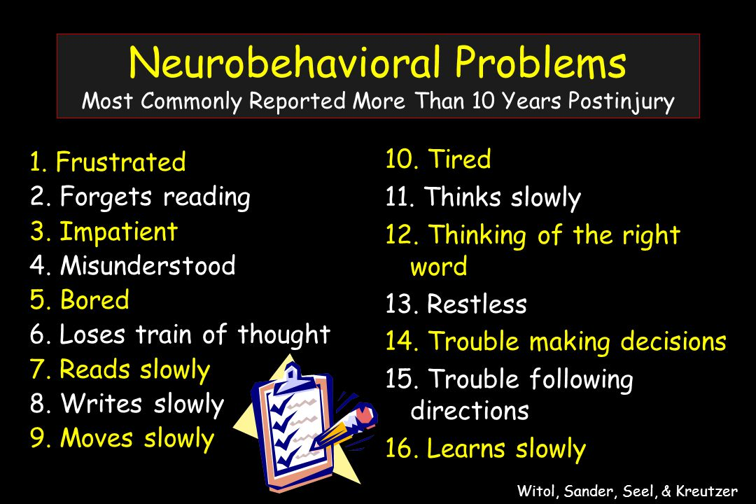 Neurobehavioral Problems Most Commonly Reported More Than 10 Years Postinjury 1.