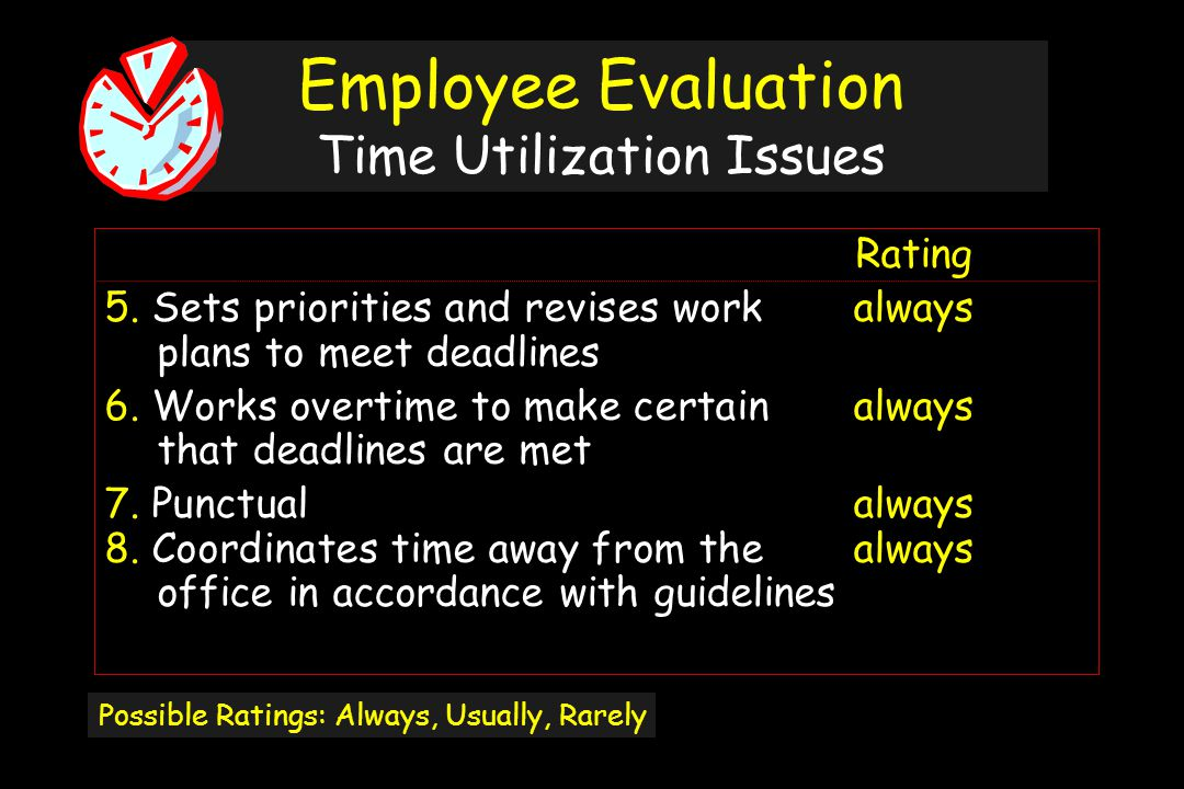 Employee Evaluation Time Utilization Issues Rating 5.