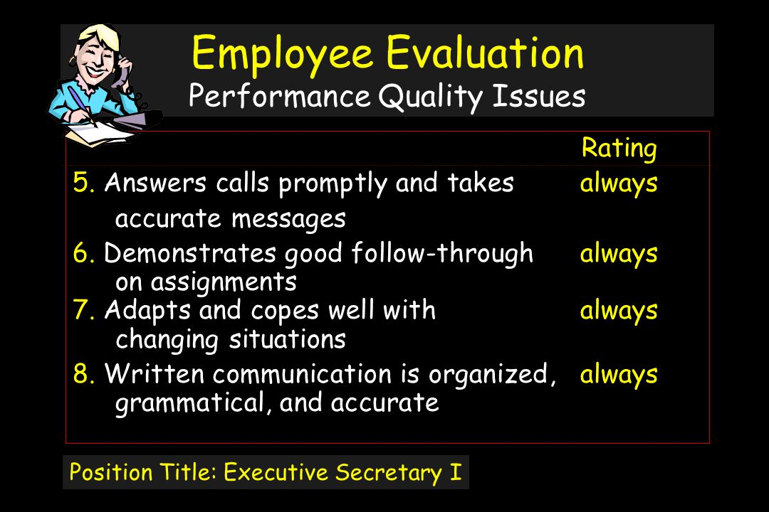 Employee Evaluation Performance Quality Issues Rating 5.