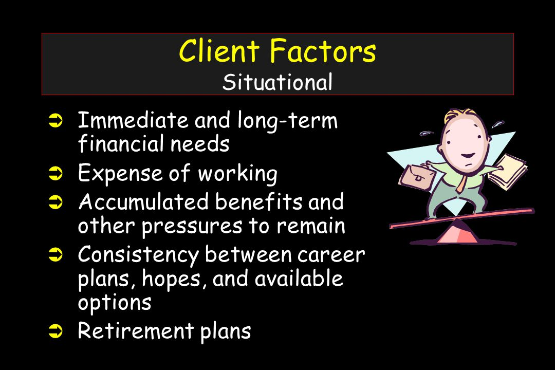 Client Factors Situational Ü Immediate and long-term financial needs Ü Expense of working Ü Accumulated benefits and other pressures to remain Ü Consistency between career plans, hopes, and available options Ü Retirement plans