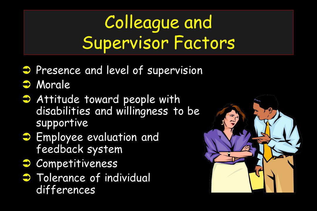 Colleague and Supervisor Factors ÜPresence and level of supervision ÜMorale ÜAttitude toward people with disabilities and willingness to be supportive ÜEmployee evaluation and feedback system ÜCompetitiveness ÜTolerance of individual differences