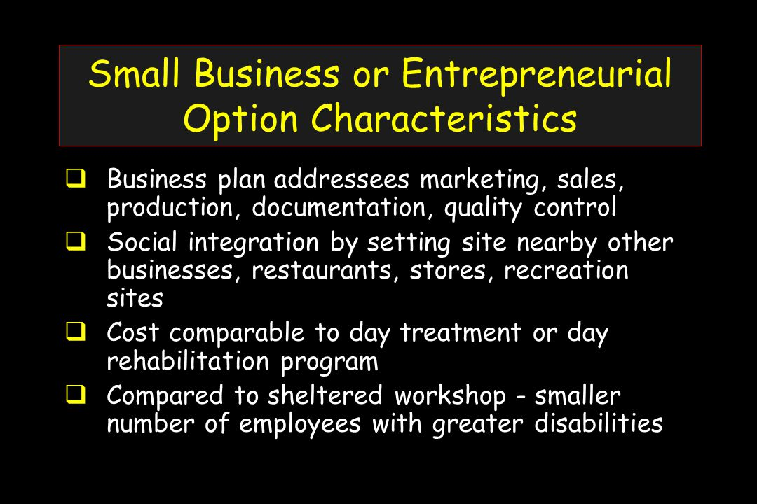 Small Business or Entrepreneurial Option Characteristics  Business plan addressees marketing, sales, production, documentation, quality control  Social integration by setting site nearby other businesses, restaurants, stores, recreation sites  Cost comparable to day treatment or day rehabilitation program  Compared to sheltered workshop - smaller number of employees with greater disabilities