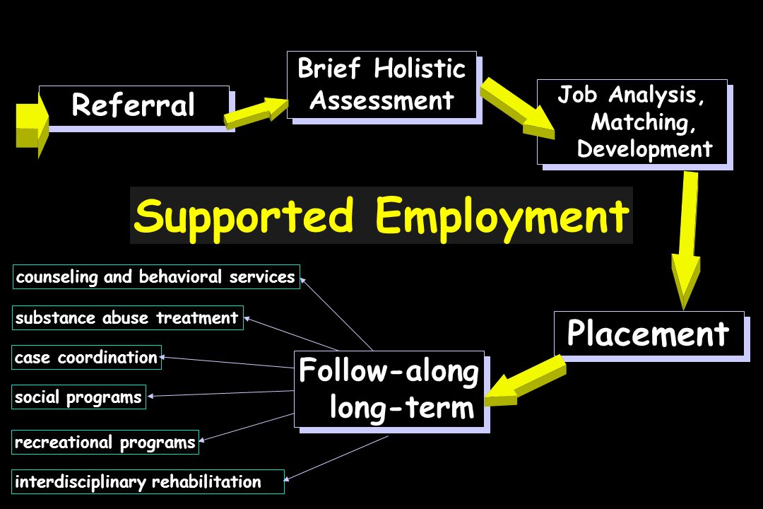 Supported Employment Referral Brief Holistic Assessment Brief Holistic Assessment Follow-along long-term Job Analysis, Matching, Development Placement interdisciplinary rehabilitation counseling and behavioral services case coordination recreational programs social programs substance abuse treatment