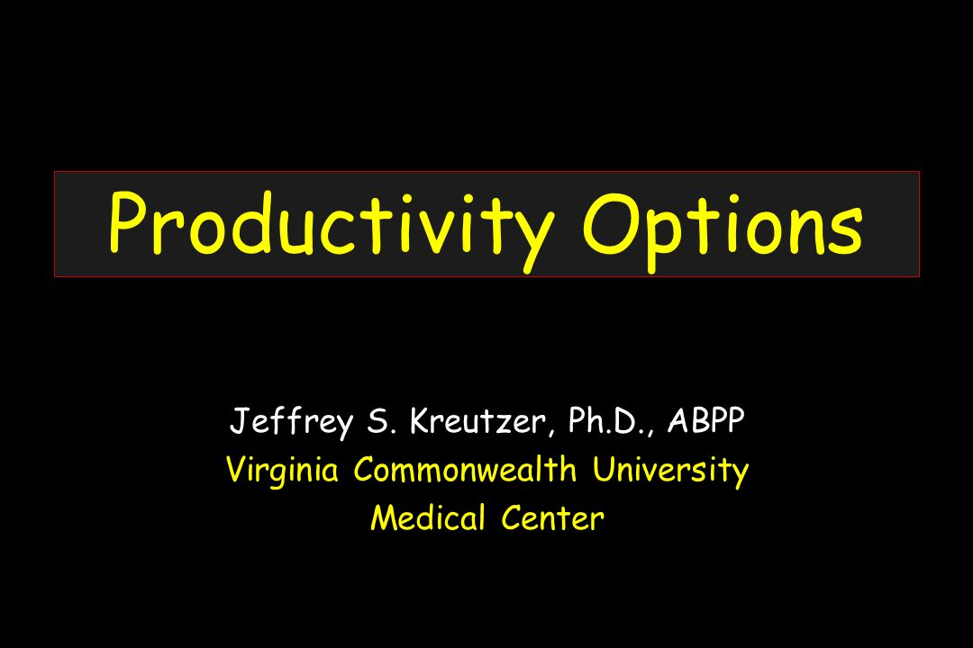 Productivity Options Jeffrey S.