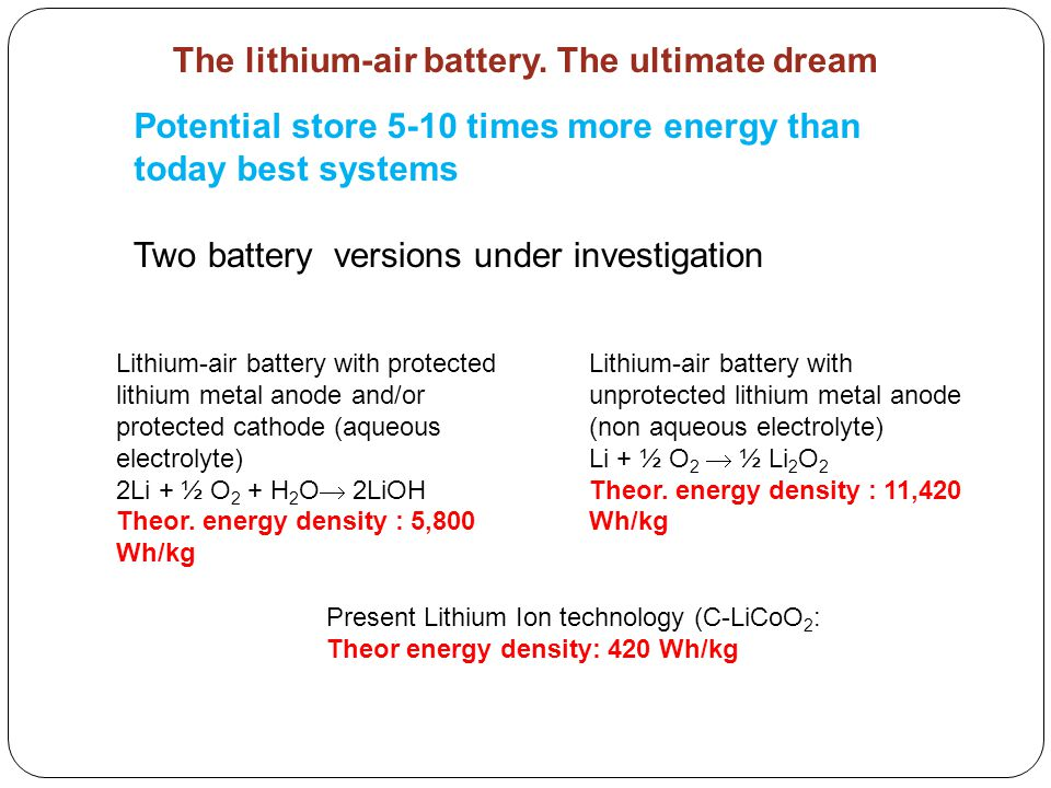The lithium-air battery. The ultimate dream Potential store 5-10 times more energy than today best systems Two battery versions under investigation Li