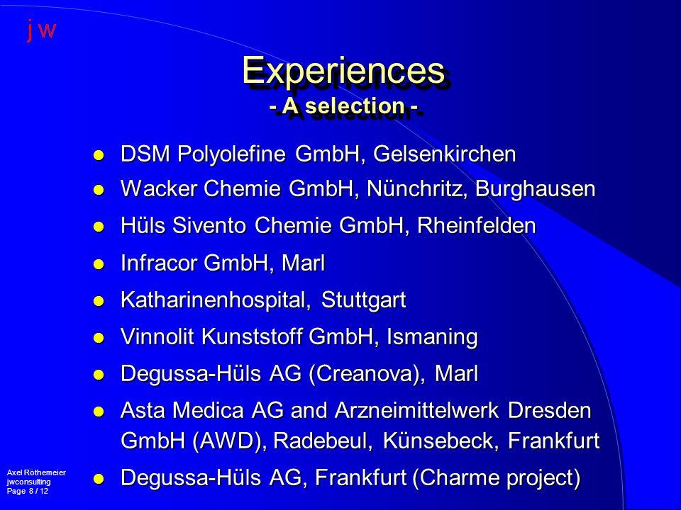 l DSM Polyolefine GmbH, Gelsenkirchen l Wacker Chemie GmbH, Nünchritz, Burghausen l Hüls Sivento Chemie GmbH, Rheinfelden l Infracor GmbH, Marl l Katharinenhospital, Stuttgart l Vinnolit Kunststoff GmbH, Ismaning l Degussa-Hüls AG (Creanova), Marl l Asta Medica AG and Arzneimittelwerk Dresden GmbH (AWD), Radebeul, Künsebeck, Frankfurt l Degussa-Hüls AG, Frankfurt (Charme project) Experiences - A selection - Axel Röthemeier jwconsulting Page 8 / 12