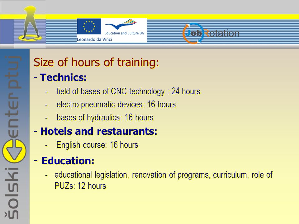 Size of hours of training: - Technics: - field of bases of CNC technology : 24 hours - electro pneumatic devices: 16 hours - bases of hydraulics: 16 hours - Hotels and restaurants: - English course: 16 hours - Education: -educational legislation, renovation of programs, curriculum, role of PUZs: 12 hours