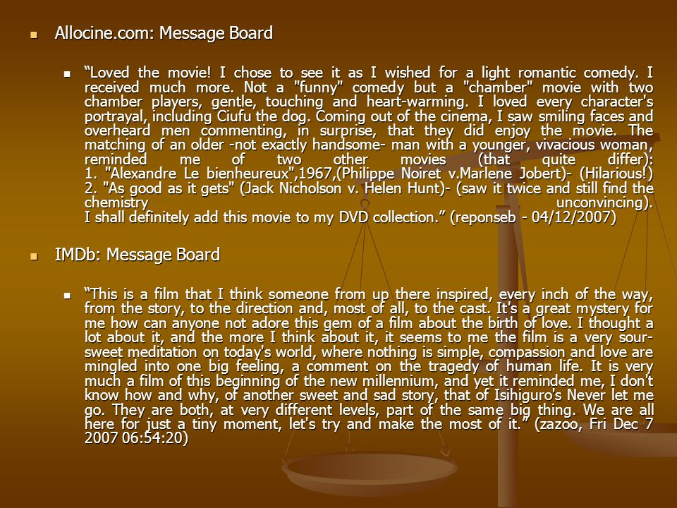 Allocine.com: Message Board Allocine.com: Message Board Loved the movie.