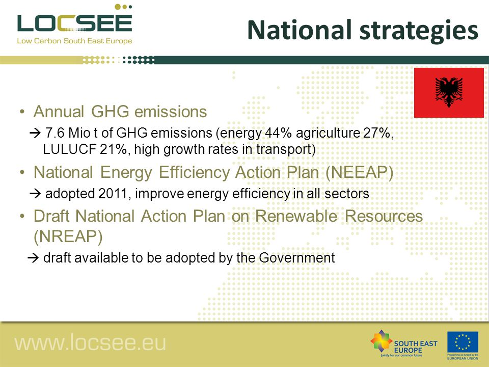 The National Strategy for Development and Integration (NSDI) 2007-2013  Strategy to increase RES up to 38% in 2020, increase energy savings from 3 to 9% in 2018, reduce GHG emissions by 16% in 2020, reducing HCFCS from 120 to 29 tons in 2040 National Energy Strategy  adopted 2003, defines changes to increase energy security and optimize energy resources The Environmental Cross-cutting Strategy 2007-2013  measures to improve energy efficiencies among sectors Specific national strategies