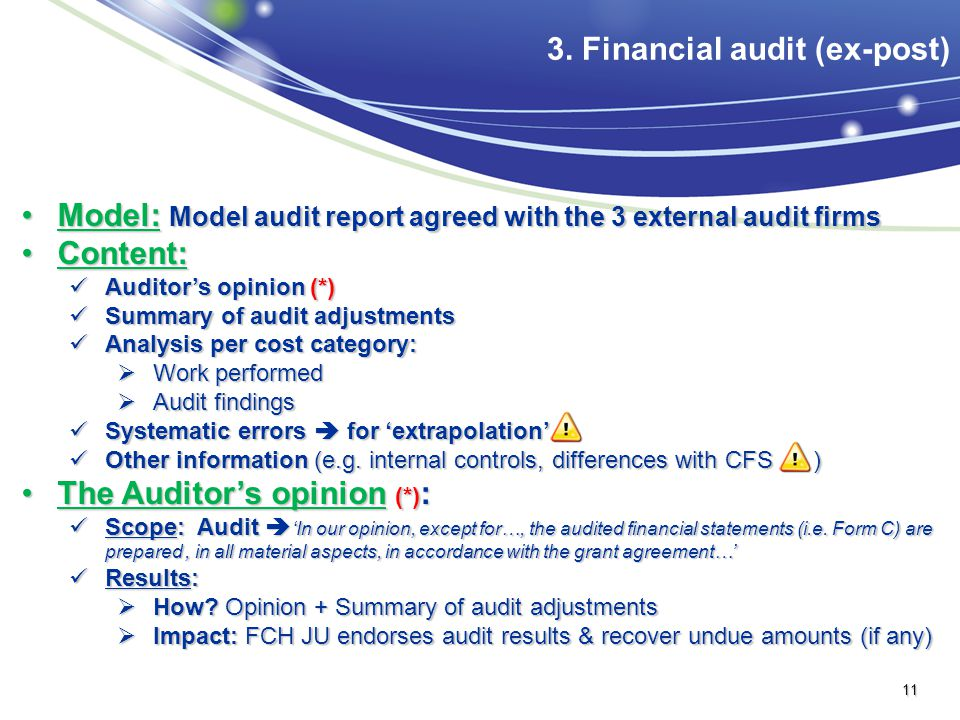 Model: Model audit report agreed with the 3 external audit firmsModel: Model audit report agreed with the 3 external audit firms Content:Content: Audi