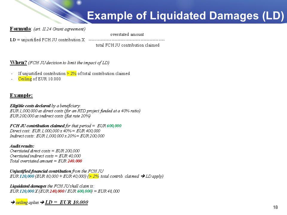 Example of Liquidated Damages (LD) 18