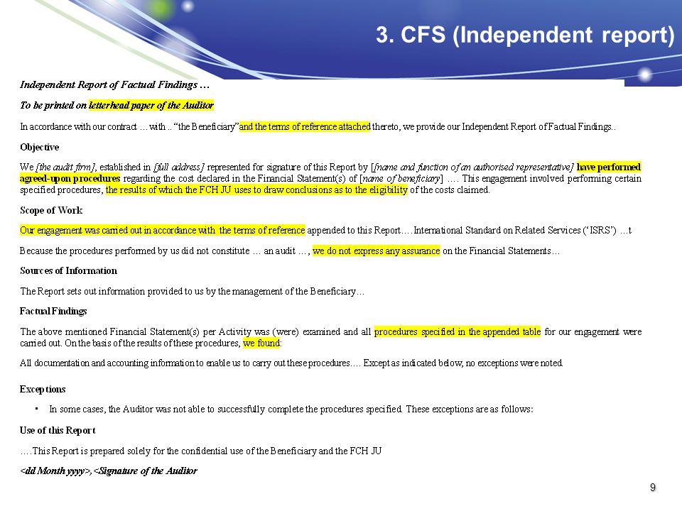 3. CFS (Independent report) 9