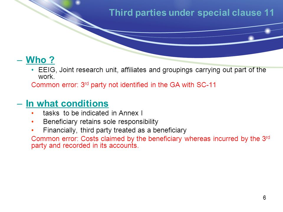 Third parties under special clause 11 6 –Who .