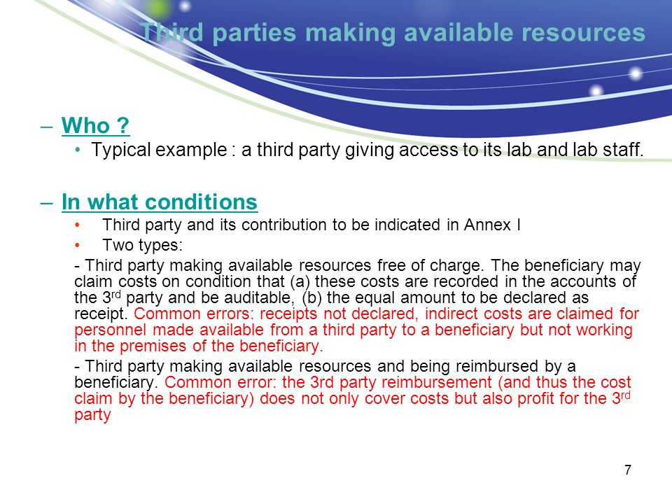 Third parties making available resources 7 –Who .