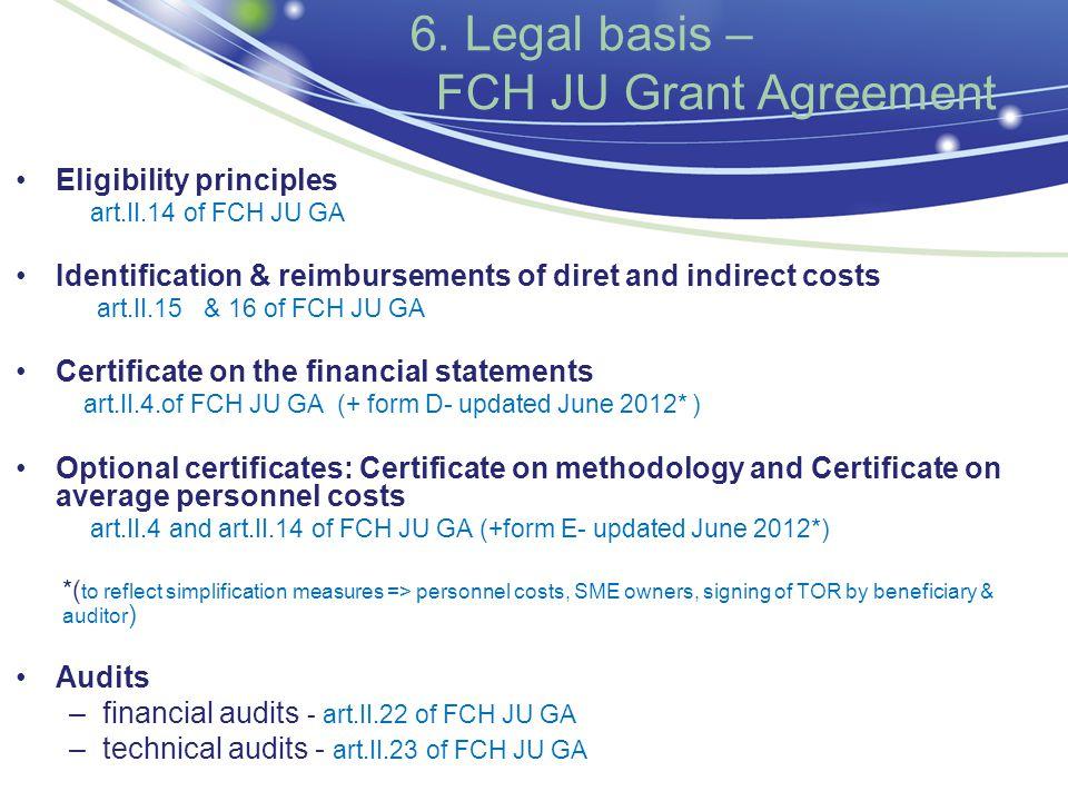 6. Legal basis – FCH JU Grant Agreement Eligibility principles art.II.14 of FCH JU GA Identification & reimbursements of diret and indirect costs art.