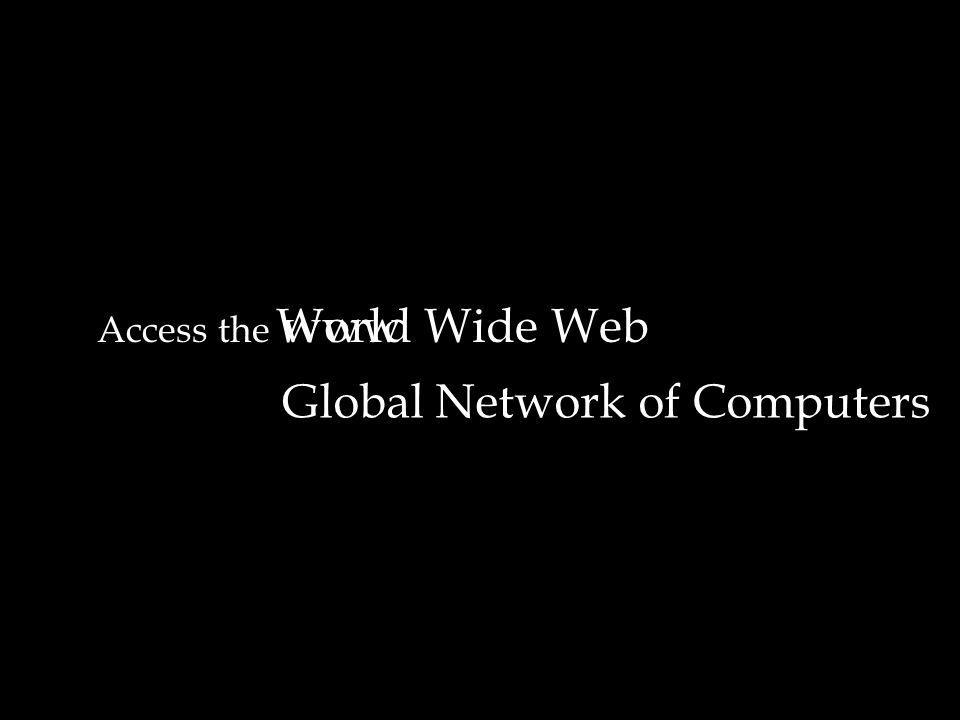 Access the World Wide Webwww Global Network of Computers