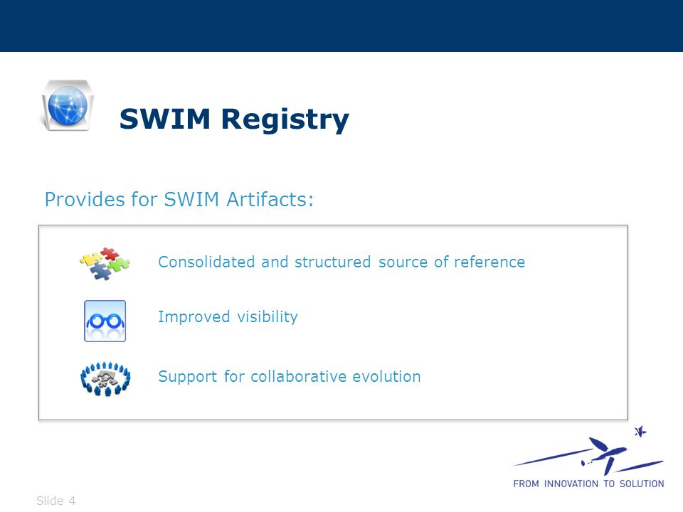 SWIM Registry Functions Slide 4 Improved visibility Support for collaborative evolution Consolidated and structured source of reference Provides for SWIM Artifacts: