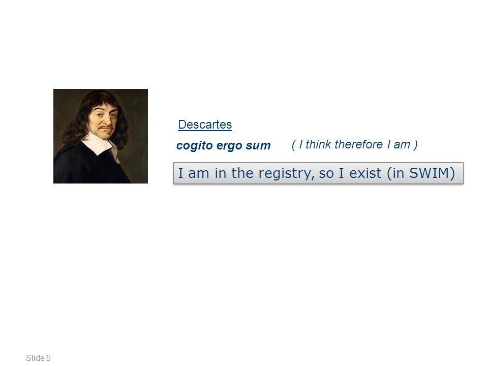 Slide 5 ( I think therefore I am ) cogito ergo sum I am in the registry, so I exist (in SWIM) Descartes