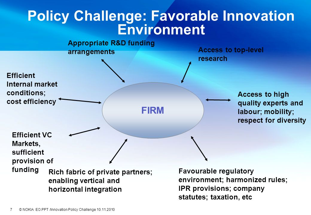 EO.PPT /Innovation Policy Challenge 10.11.20107 © NOKIA Policy Challenge: Favorable Innovation Environment FIRM Appropriate R&D funding arrangements Access to top-level research Access to high quality experts and labour; mobility; respect for diversity Favourable regulatory environment; harmonized rules; IPR provisions; company statutes; taxation, etc Rich fabric of private partners; enabling vertical and horizontal integration Efficient VC Markets, sufficient provision of funding Efficient Internal market conditions; cost efficiency