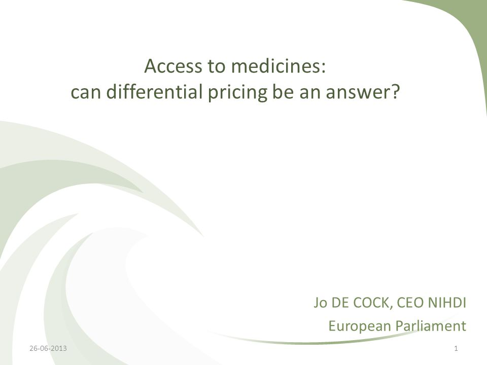 Access to medicines: can differential pricing be an answer.
