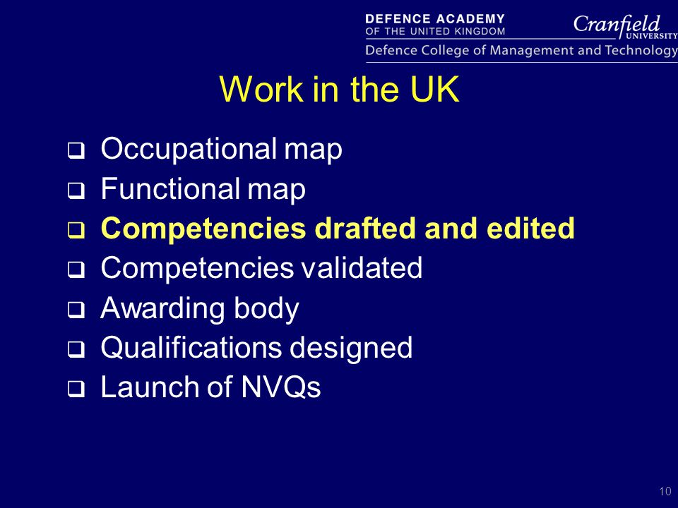 10 Work in the UK  Occupational map  Functional map  Competencies drafted and edited  Competencies validated  Awarding body  Qualifications desi