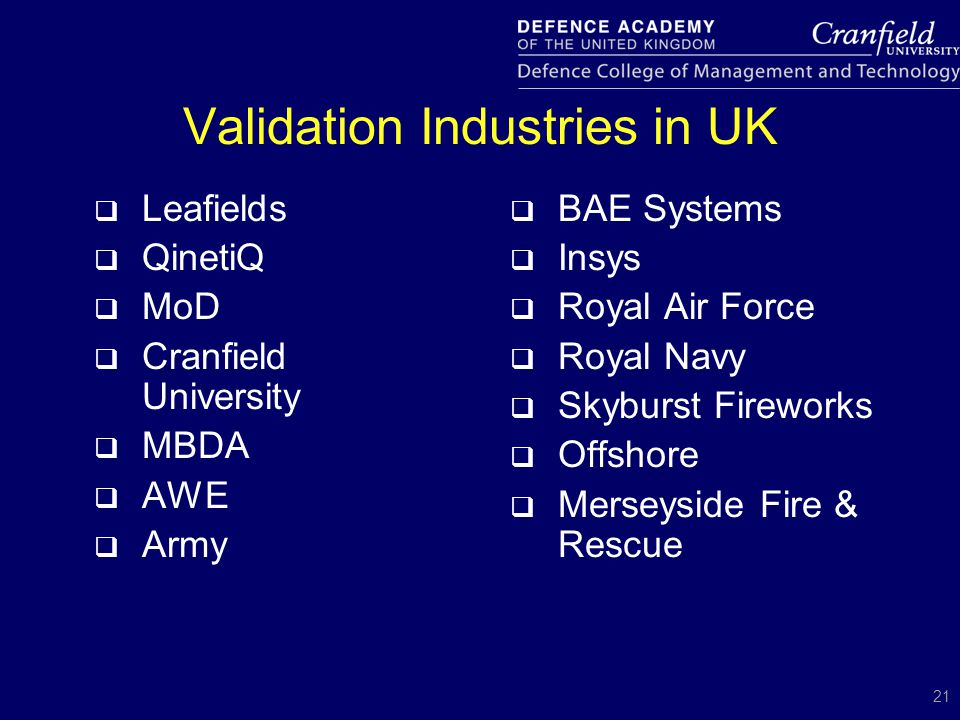 21 Validation Industries in UK  Leafields  QinetiQ  MoD  Cranfield University  MBDA  AWE  Army  BAE Systems  Insys  Royal Air Force  Royal