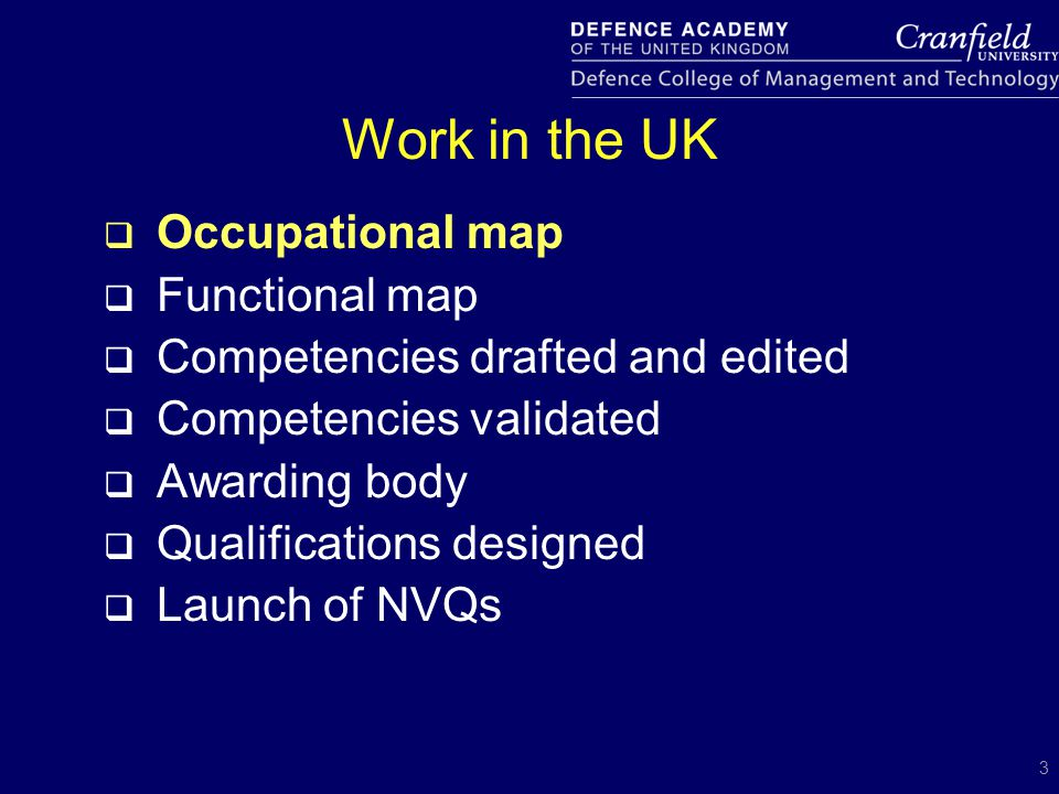 3 Work in the UK  Occupational map  Functional map  Competencies drafted and edited  Competencies validated  Awarding body  Qualifications desig