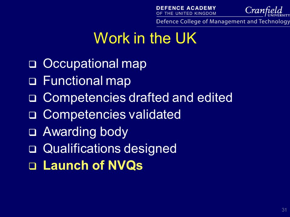 31 Work in the UK  Occupational map  Functional map  Competencies drafted and edited  Competencies validated  Awarding body  Qualifications desi