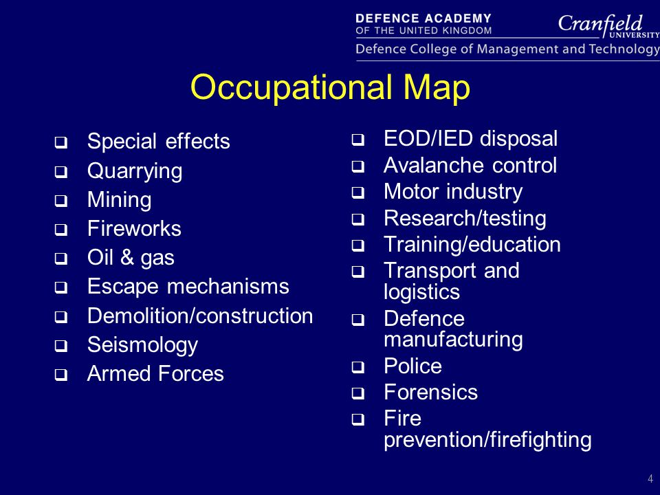 4 Occupational Map  Special effects  Quarrying  Mining  Fireworks  Oil & gas  Escape mechanisms  Demolition/construction  Seismology  Armed F
