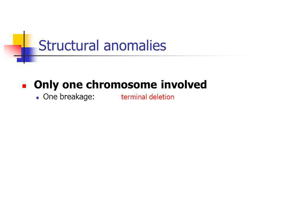 Structural anomalies Only one chromosome involved One breakage: terminal deletion