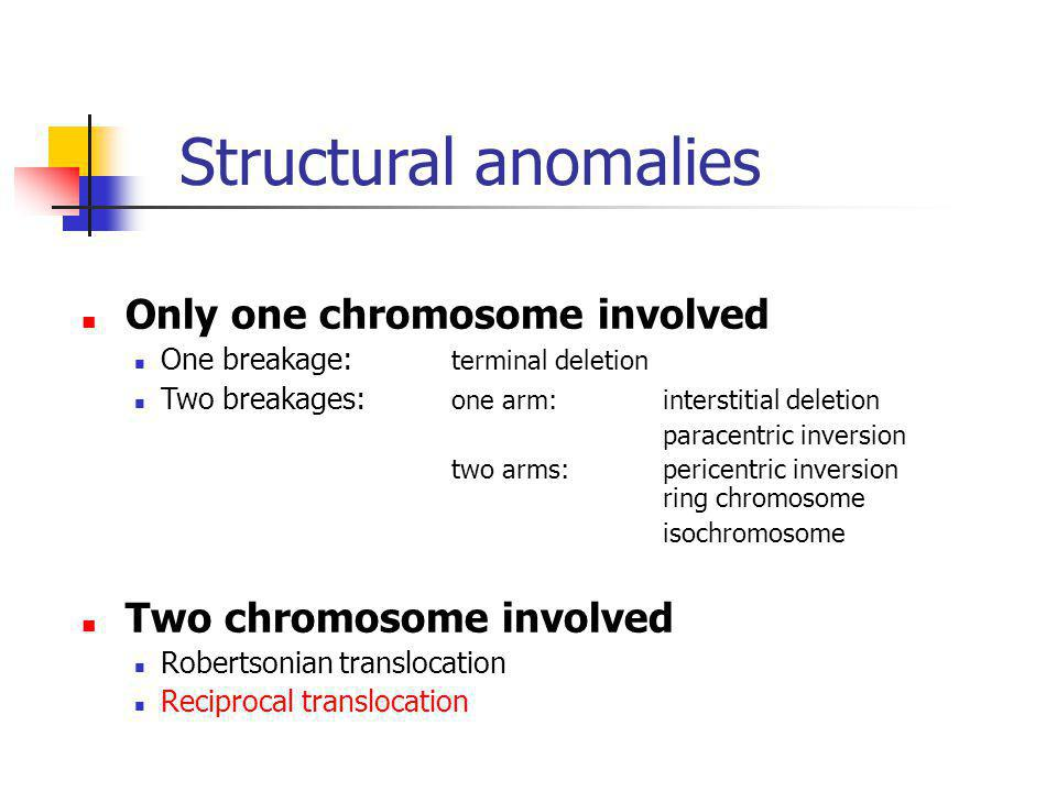 Structural anomalies Only one chromosome involved One breakage: terminal deletion Two breakages: one arm:interstitial deletion paracentric inversion t