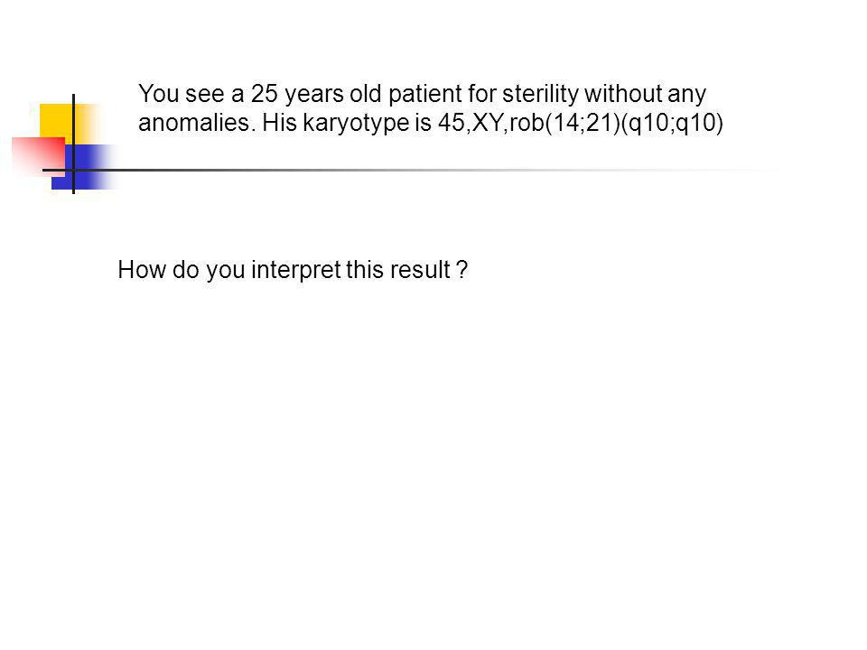 You see a 25 years old patient for sterility without any anomalies. His karyotype is 45,XY,rob(14;21)(q10;q10) How do you interpret this result ?