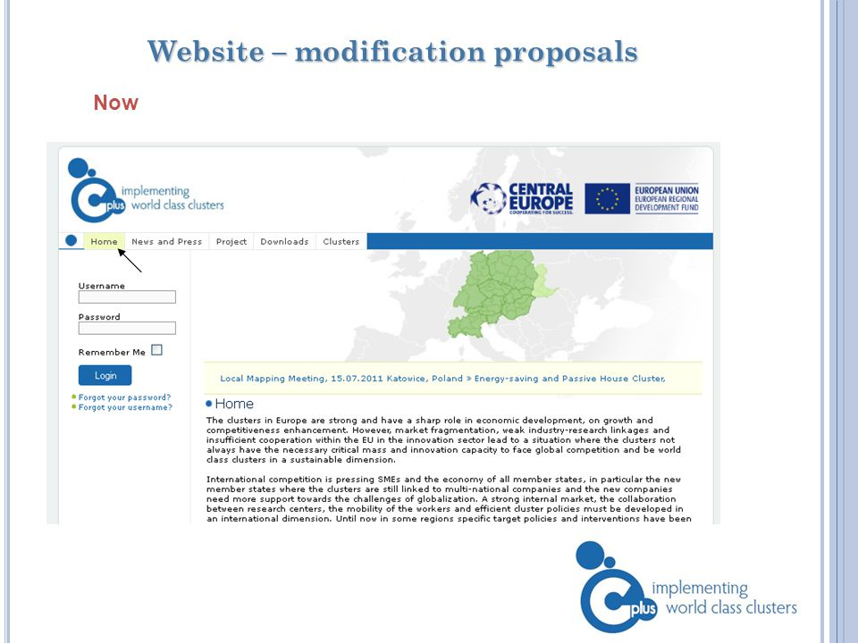 Website – modification proposals Now