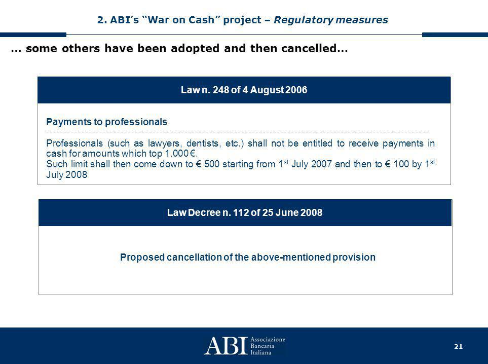 21 … some others have been adopted and then cancelled… Law n. 248 of 4 August 2006 Payments to professionals Professionals (such as lawyers, dentists,