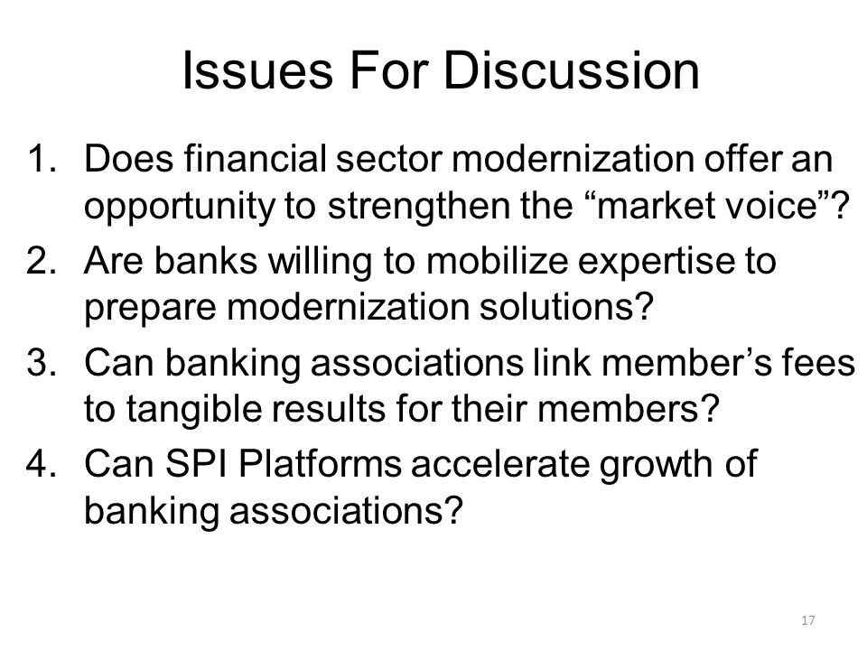 17 Issues For Discussion 1.Does financial sector modernization offer an opportunity to strengthen the market voice .