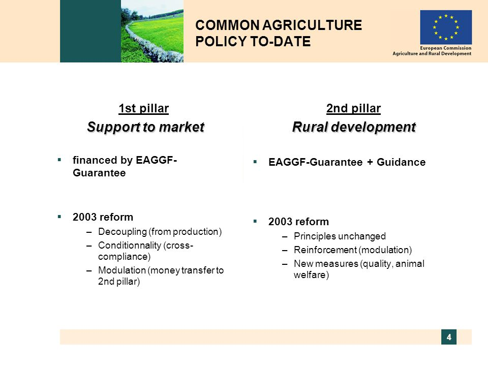 4 1st pillar Support to market  financed by EAGGF- Guarantee  2003 reform –Decoupling (from production) –Conditionnality (cross- compliance) –Modula