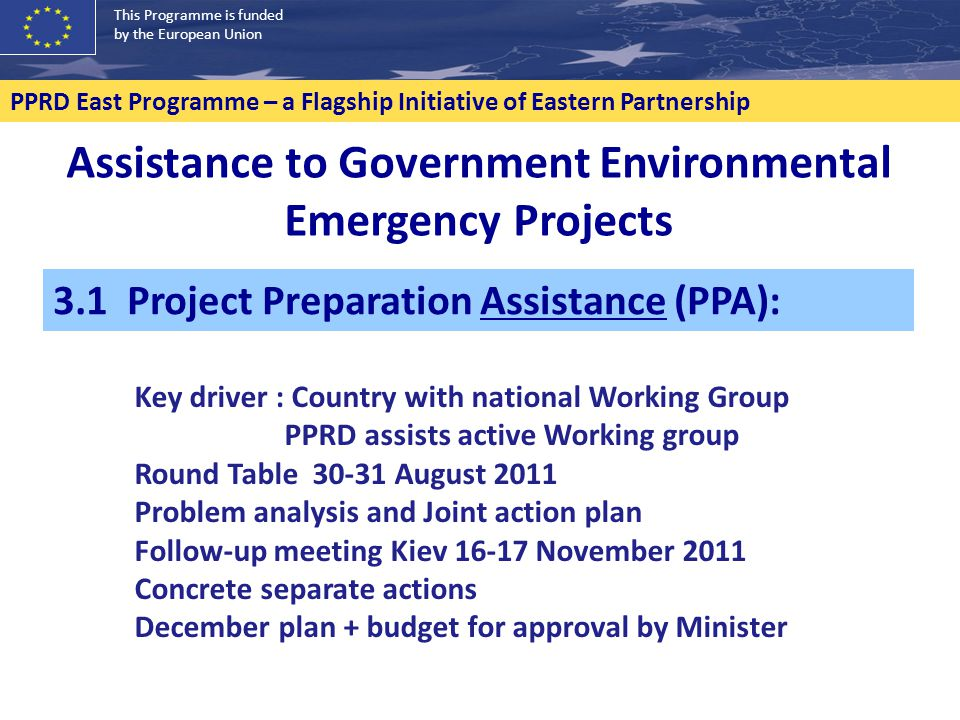 This Programme is funded by the European Union PPRD East Programme – a Flagship Initiative of Eastern Partnership Assistance to Government Environment
