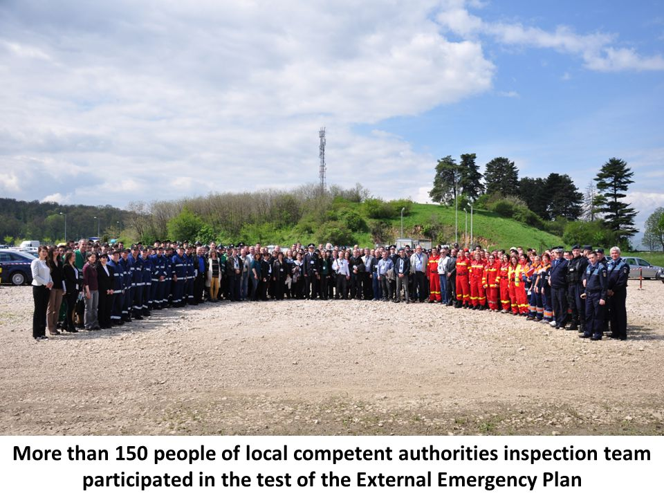 More than 150 people of local competent authorities inspection team participated in the test of the External Emergency Plan