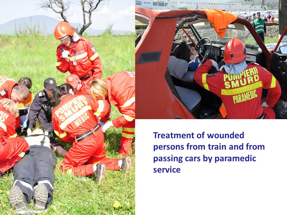 Treatment of wounded persons from train and from passing cars by paramedic service